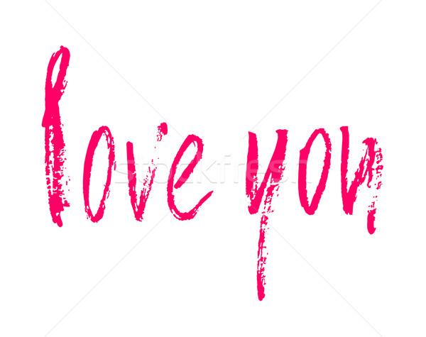 Amour carte encre illustration rose dessinés à la main Photo stock © mcherevan