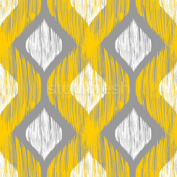 Yellow, white and grey rhomb seamless pattern in native ikat style. Stock photo © mcherevan