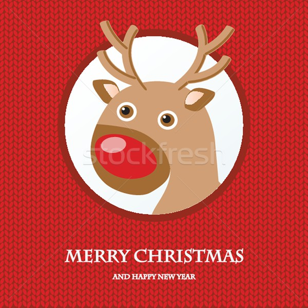 Christmas card with reindeer in Santa hat. Stock photo © mcherevan