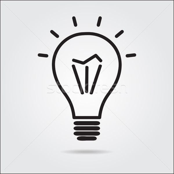 Light bulb logo icon drawn in the manual Stock photo © mcherevan
