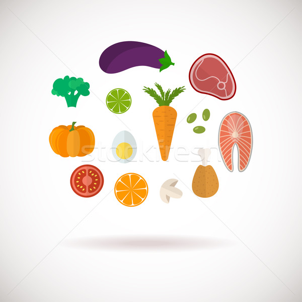 Stock photo: Vector color healthy food icons set
