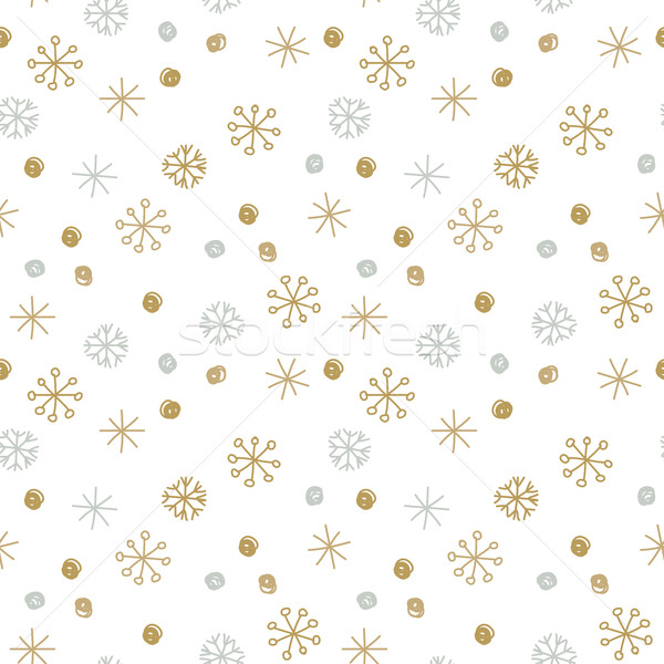 Vector Seamless Winter Pattern Background with Sikver and Gold Snowflakes. Stock photo © mcherevan