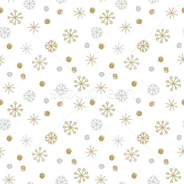 Vektor végtelenített tél minta arany hópelyhek Stock fotó © mcherevan
