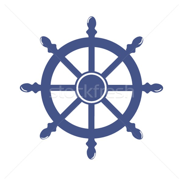 Ship Wheel Banner isolated on white background. Vector Illustration Stock photo © mcherevan