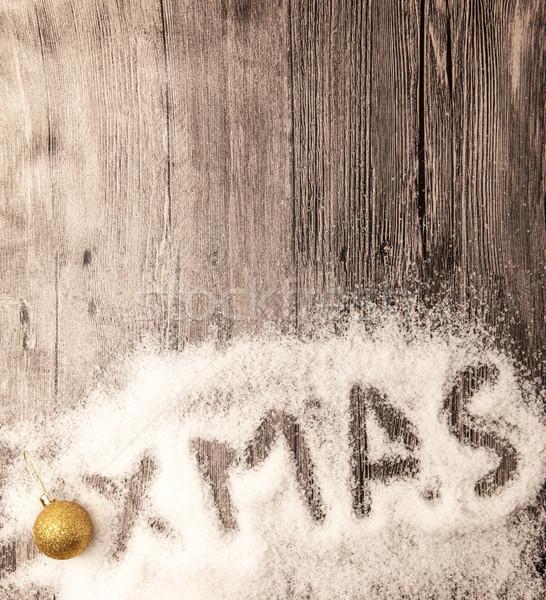 Opschrift kerstmis gouden sneeuw Stockfoto © mcherevan