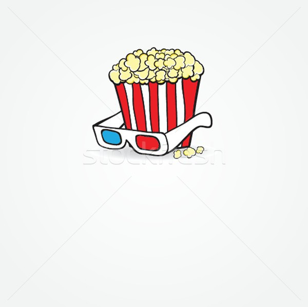Stockfoto: Popcorn · 3d-bril · bioscoop · film · ontwerp · frame