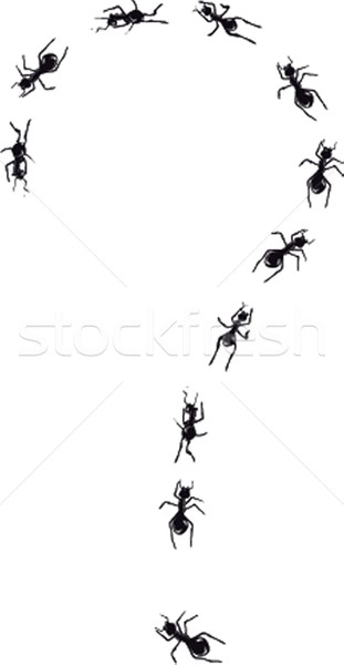 Hand drawn question mark made of ants. Stock photo © mcherevan