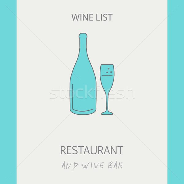 Wina listy cienki line ilustracja Zdjęcia stock © mcherevan