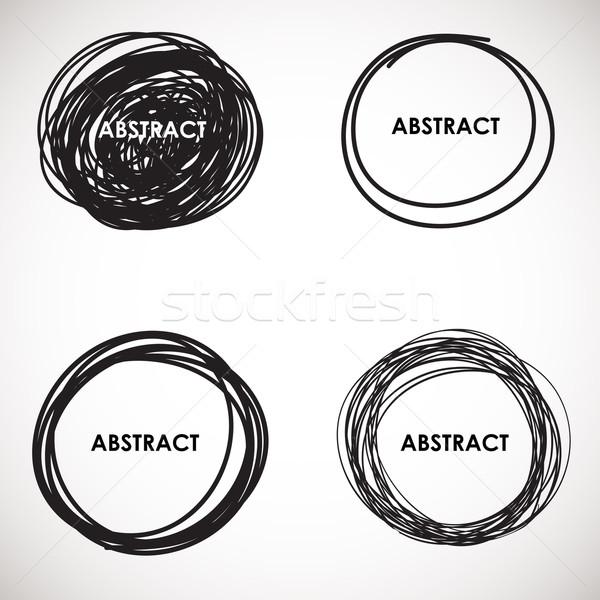 Grunge circle brush strokes set. Vector design.  Stock photo © mcherevan