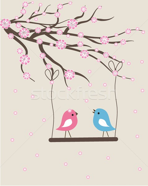 Vector cute floral spring birds illustration Stock photo © mcherevan