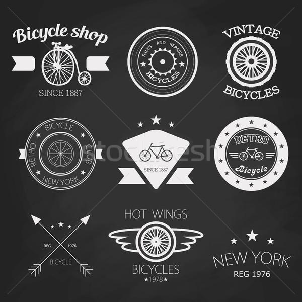 Zestaw vintage rowerów sklep logos biały Zdjęcia stock © mcherevan