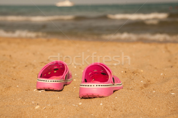 Flip-flop  on sand beach of Lake Balaton Stock photo © mcherevan