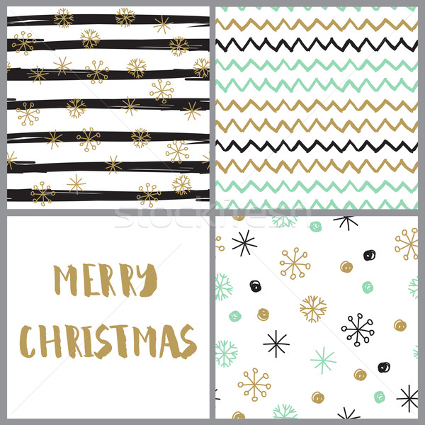 Set of  hand drawn christmas cards in pastel colors. Hand Drawn textures made with ink Stock photo © mcherevan