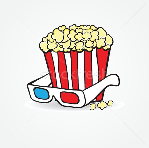 Popcorn and 3d glasses. Cinema concept background Stock photo © mcherevan