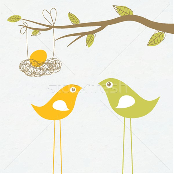 Baby arriving card with birds family and egg in the nest Stock photo © mcherevan