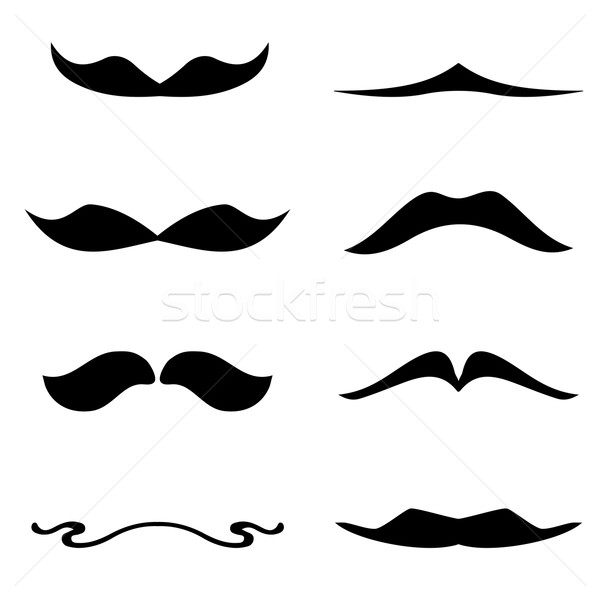 Set of mustaches isolated on white background. Stock photo © mcherevan