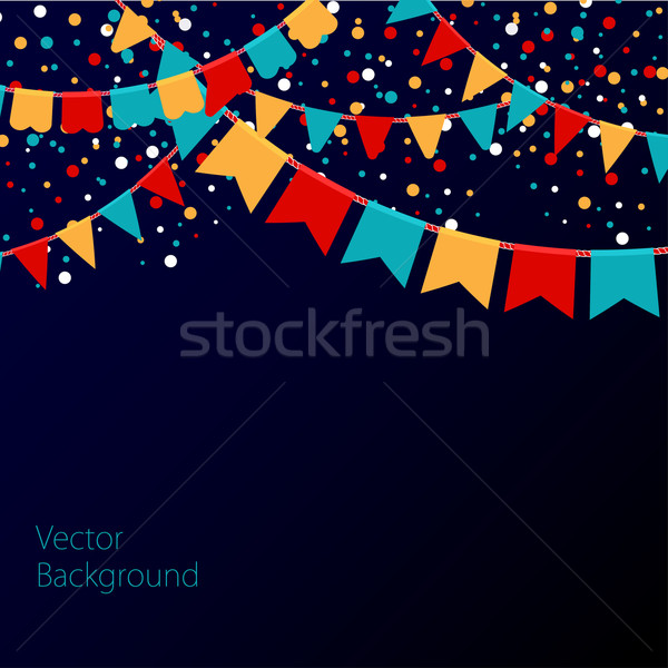 Vector illustration of night sky with colorful flags garlands. Holiday background with place for tex Stock photo © mcherevan