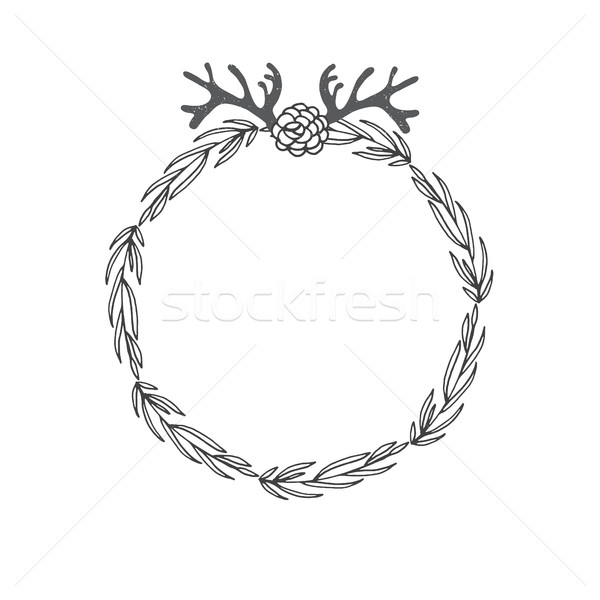 Laurel wreath with branch, horn and flowers. Decorative element at engraving style Stock photo © mcherevan