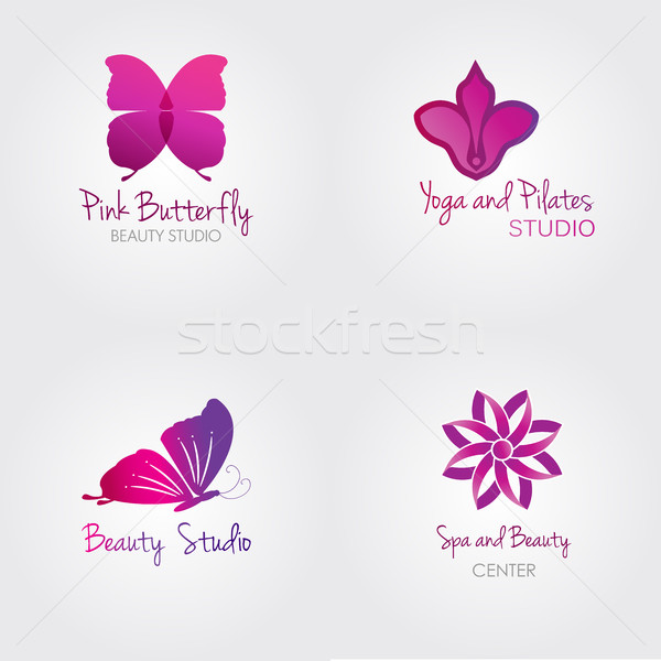 Spa logo set. Butterfly and flower logos.  Stock photo © mcherevan