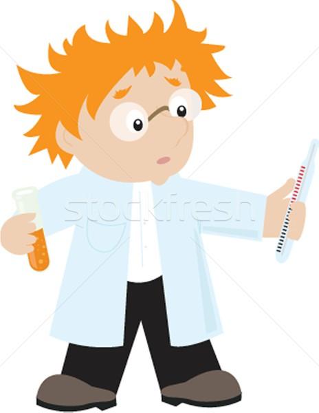 Stockfoto: Grappig · cartoon · wetenschapper · man · gelukkig · glas