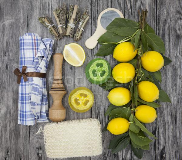 набор Spa ручной работы мыло губки лимона Сток-фото © mcherevan