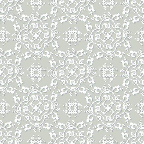 Ezüst szürke fehér damaszt végtelen minta öreg Stock fotó © mcherevan