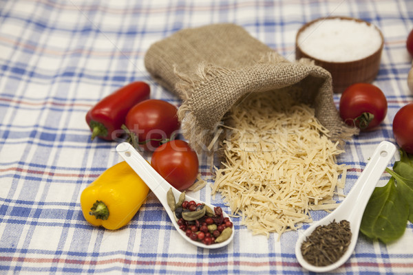 Vermicelli Italian pasta set for the creation : cherry tomatoes, olive oil, balsamic sauce, garlic,  Stock photo © mcherevan