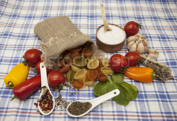 Conchiglioni Sicilian pasta set for the creation : cherry tomatoes, olive oil, balsamic sauce, garli Stock photo © mcherevan