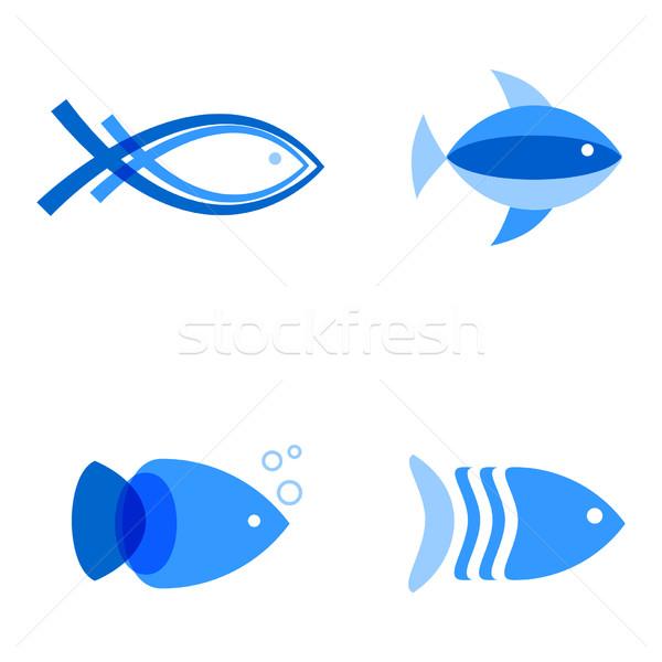 Сток-фото: синий · цветами · аннотация · рыбы · логотип