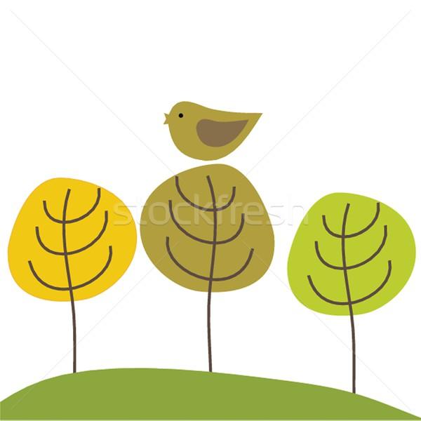 かわいい カード 鳥 スイング 女性 ストックフォト © mcherevan