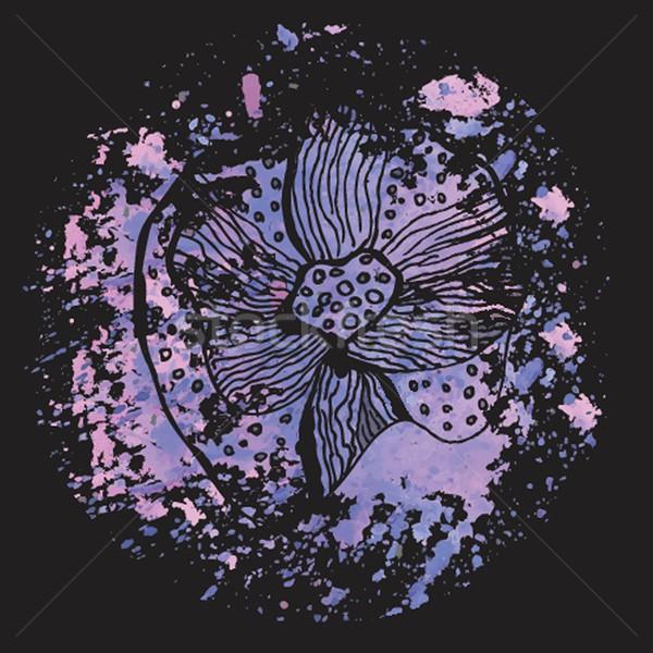 ストックフォト: 抽象的な · 花 · 暗い · 水彩画 · ビジネス · 紙