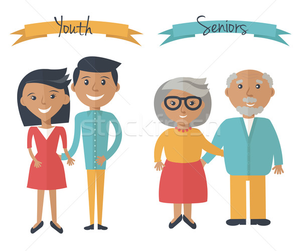 Woman and man couple generations. Family couple at different ages. Youth and seniors people isolated Stock photo © mcherevan