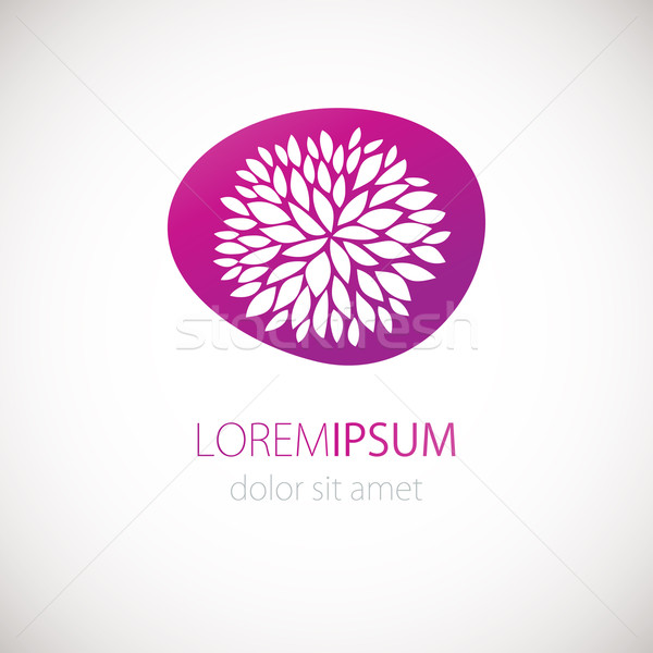 Logotype design with flower chrisanthemum on pink background. Stock photo © mcherevan