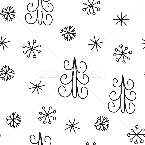 Snowflake and fir christmas tree. Christmas decoration pattern, seamless background, hand drawn elem Stock photo © mcherevan