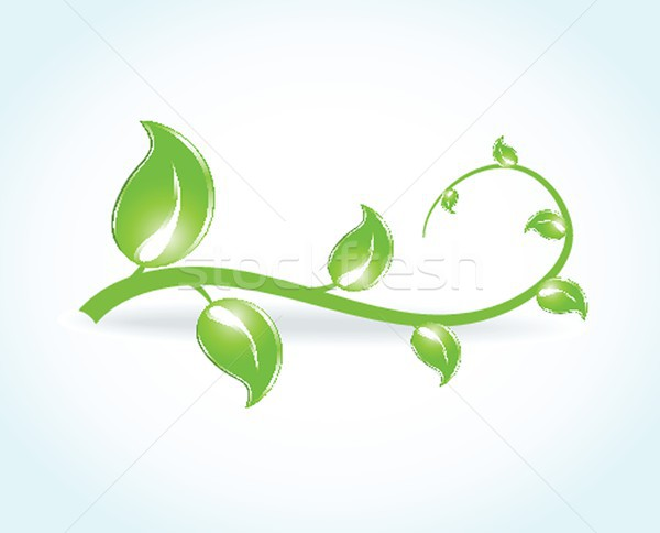 Yeşil yaprakları kelebekler ekolojik vektör soyut doğa Stok fotoğraf © mcherevan