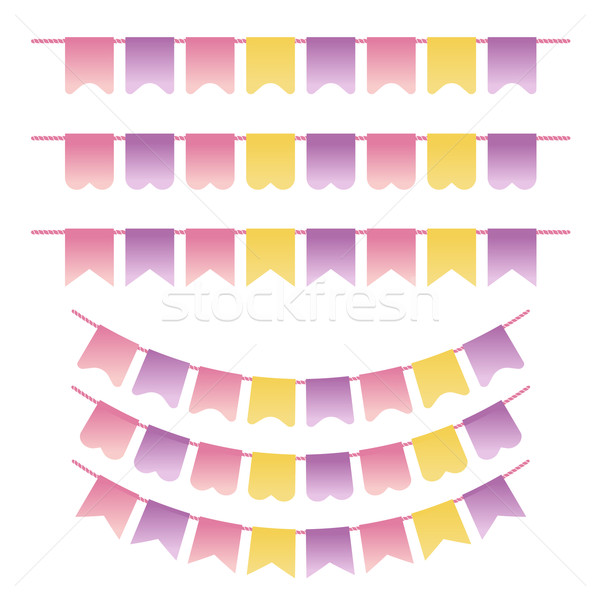Bunting set pastel violet, yellow and pink colors. Can be used for scrapbook, greeting cards, baby s Stock photo © mcherevan