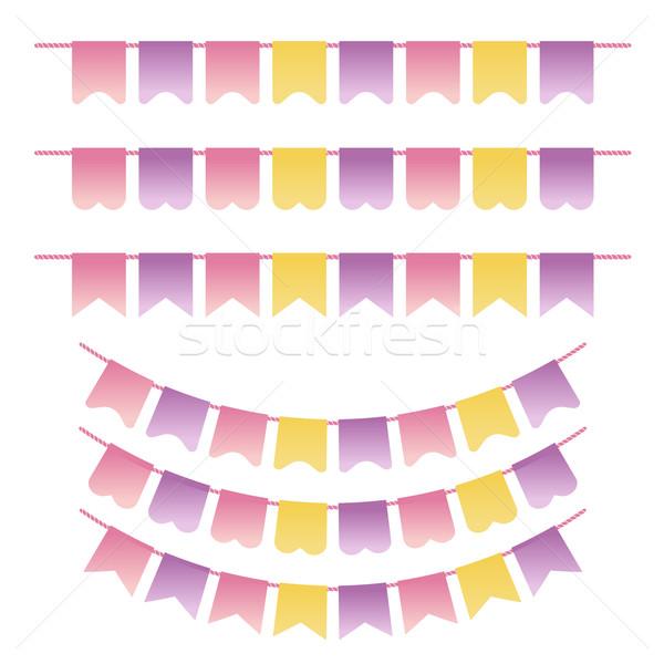 Set pastello viola giallo rosa colori Foto d'archivio © mcherevan