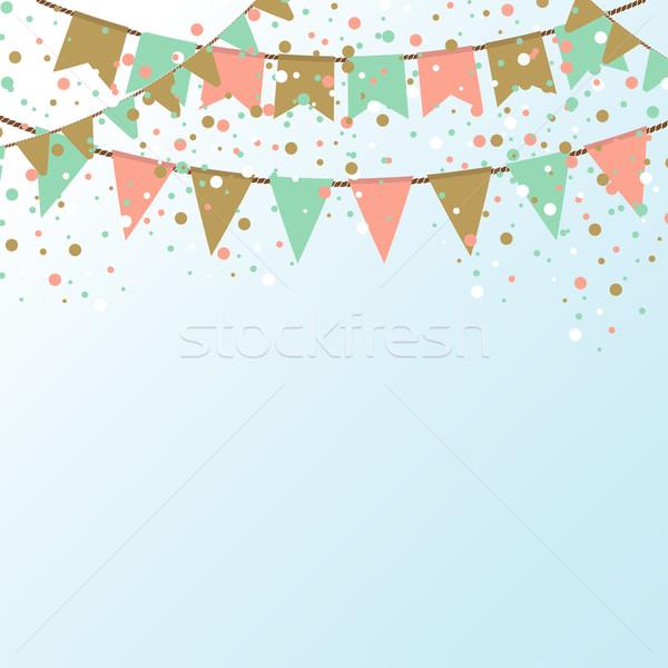 Kék ég színes zászlók ünnep hely szöveg Stock fotó © mcherevan