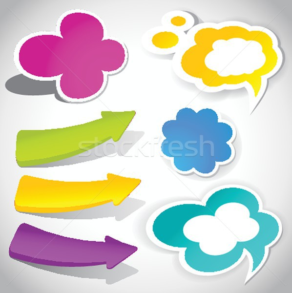 colorful vector speech bubbles and arrows for your text Stock photo © mcherevan