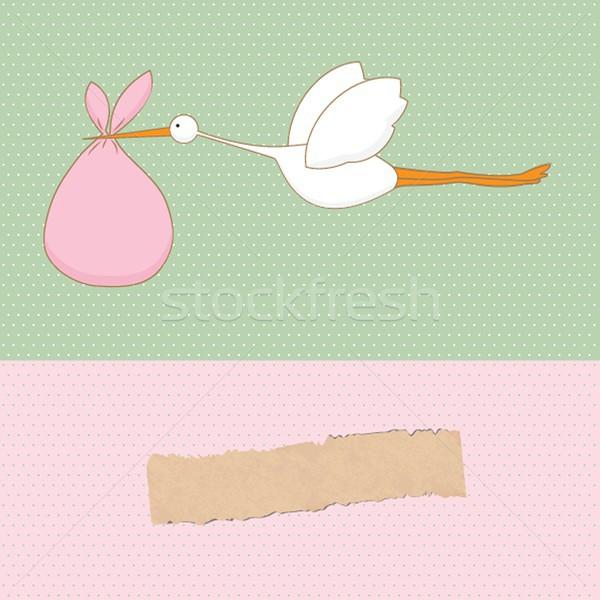 Baby aankomst kaart ooievaar cute meisje Stockfoto © mcherevan