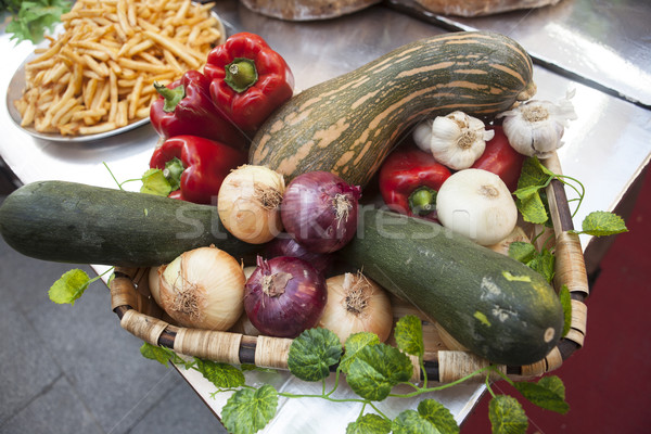 Bread, fresh vegetables, zucchini, garlic, bell pepper, onion, at the fair. Stock photo © mcherevan