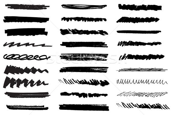 Vector ingesteld zwarte grunge inkt Stockfoto © mcherevan