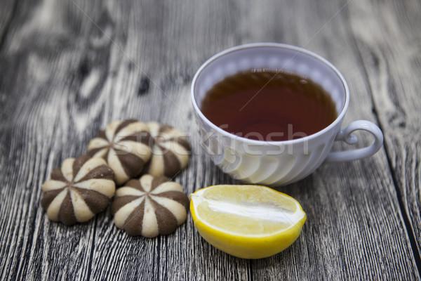 красивой Кубок чай лимона Печенье Сток-фото © mcherevan