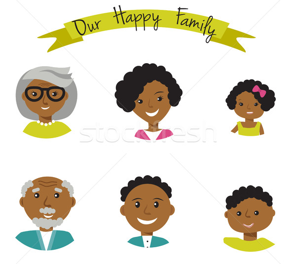 Happy African American family faces portraits of six members: parents,their son and daughter, and gr Stock photo © mcherevan