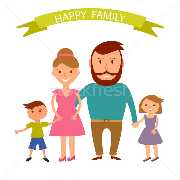 Happy family illustration. Father, mother, son and dauther portrait with banner Stock photo © mcherevan