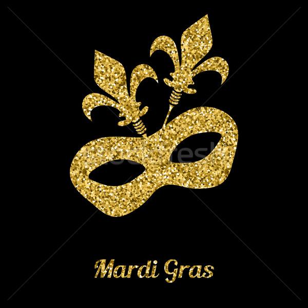 Maszk arany csillámlás velencei karnevál arc Stock fotó © mcherevan