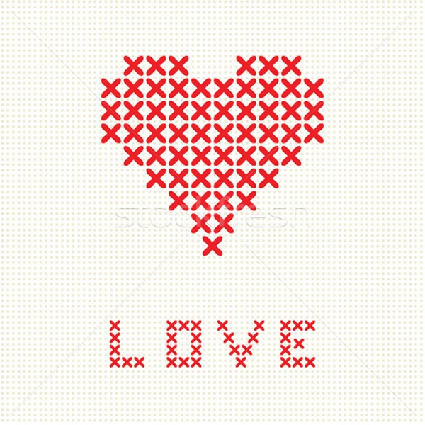 Valentine`s card with embroider heart Stock photo © mcherevan