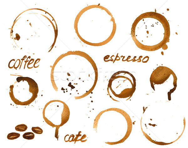 Vector illustration of coffee cup stains.  Stock photo © mcherevan