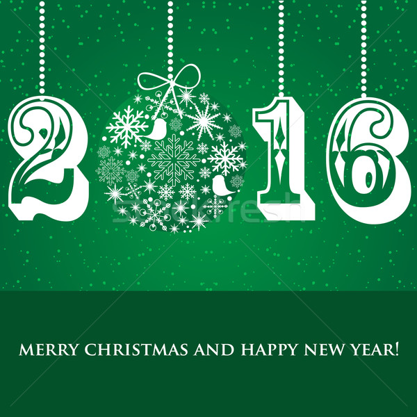 Christmas Snowflakes ball and numbers 2016 on green background Stock photo © mcherevan