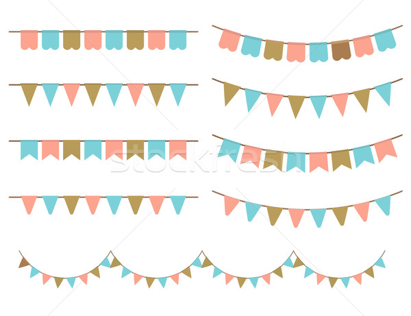 Vector Illustration of Colorful Garlands on white background. Stock photo © mcherevan